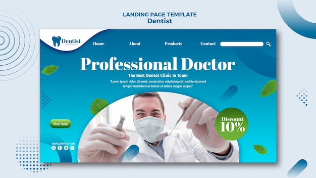 Template for landing page with dental care