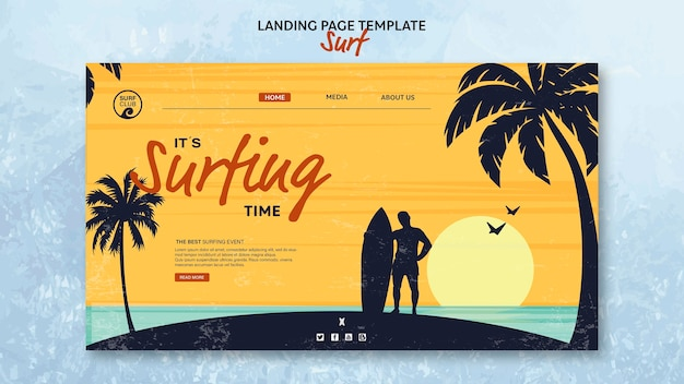 Template for landing page with surfing time
