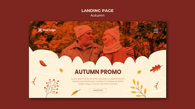 Template for landing page with welcoming the autumnal season