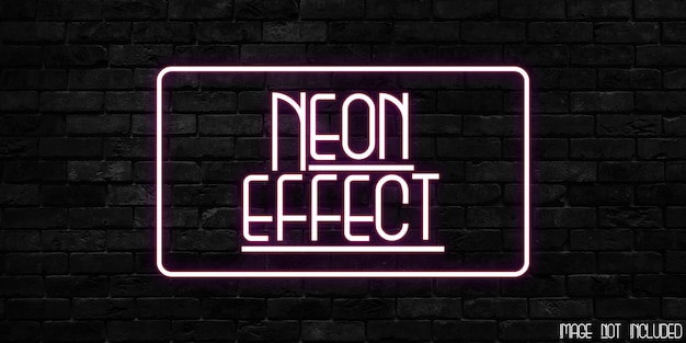 Template of neon effect text style effect