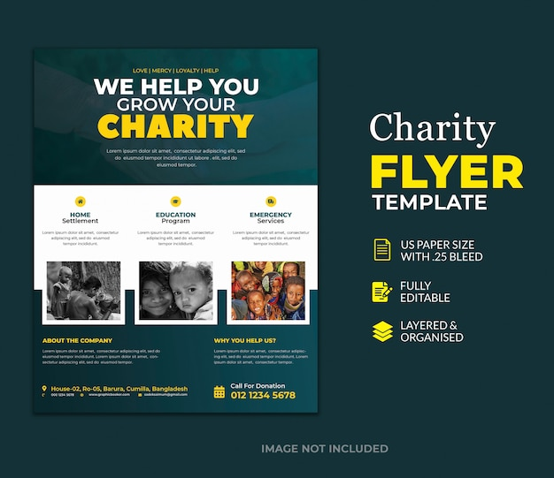 Шаблон пожертвования благотворительного флаера