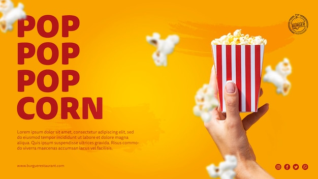 Template popcorn advertisement with photo