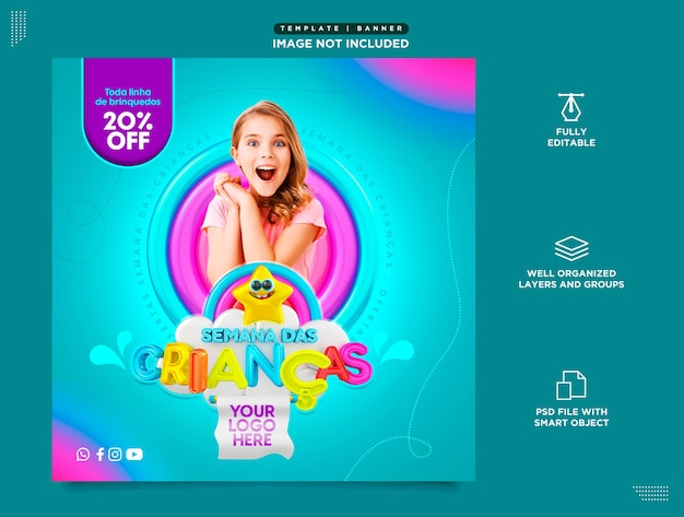 Template in portuguese social media instagram childrens day sales product promotions and offers