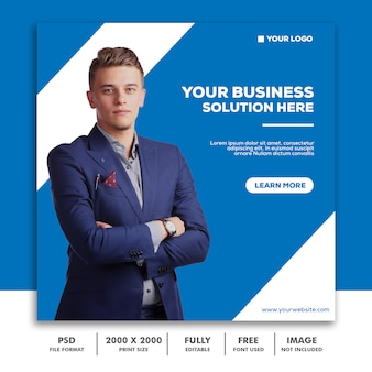 Template post square banner for instagram, business corporate blue clean simple elegant modern