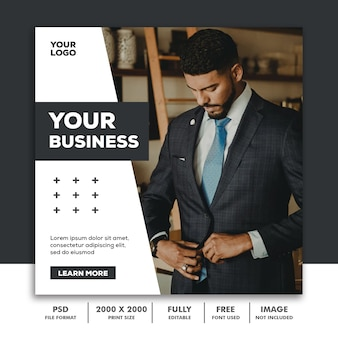 Template post square banner for instagram, business corporate luxury modern black