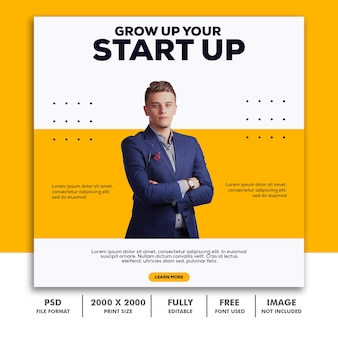 Template post square banner for instagram, business corporate yellow clean simple elegant modern