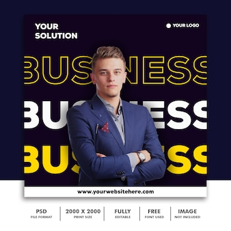 Template post square banner for instagram, business corporate