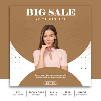Template post square banner for instagram, fashion beautiful girl modern clean