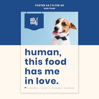 Template for poster with dog food concept