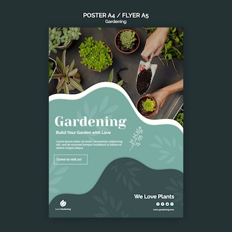 Template for poster with gardening