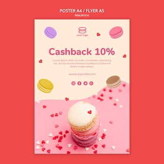 Template for poster with macarons