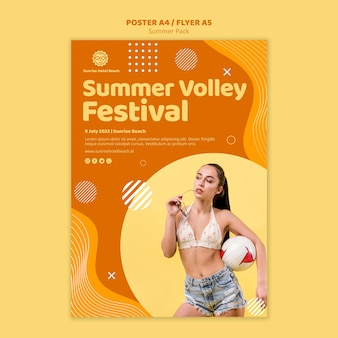 Template for poster with summer vacation