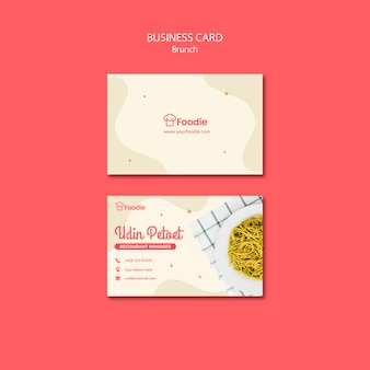 Template for restaurant business card