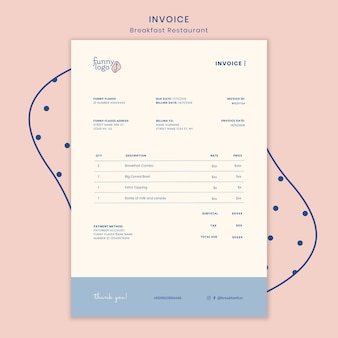 Template for restaurant invoice