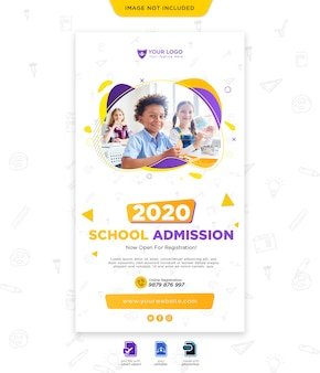 Template for school admission for social media post