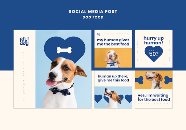 Template for social media post with dog food