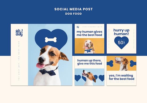 Modello per post di social media con cibo per cani
