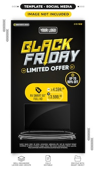 Template social media stories black friday limited offer up to 80 off