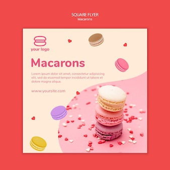 Template for squared flyer with macarons Free Psd