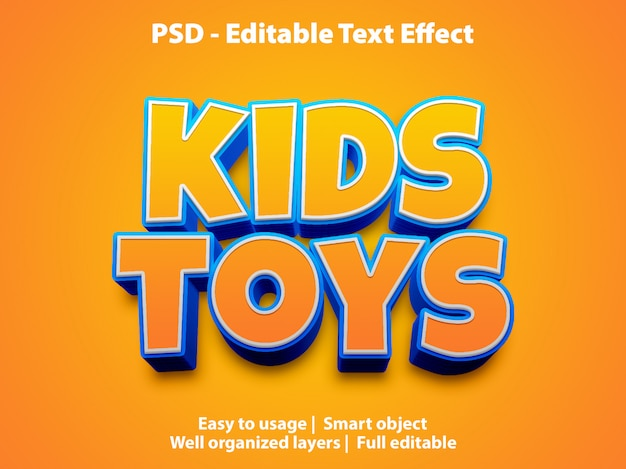 Template of text effect kids toys