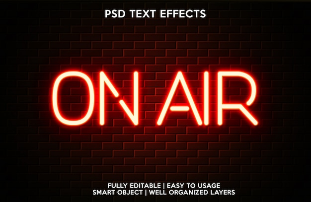 Template for text font with on air text effect