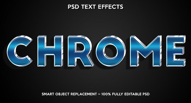 Template for text font with chrome text effect