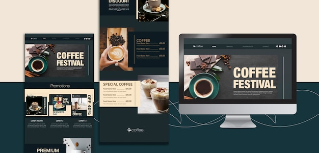 Template theme with coffee