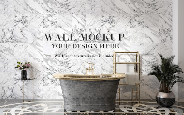 Template for wall tiles in luxury bathroom
