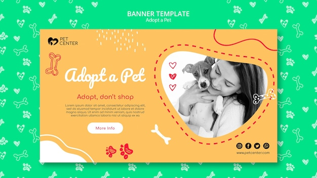 Template with adopt a pet banner concept