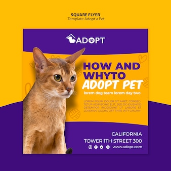 Template with adopt pet for flyer design