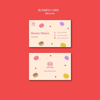 Template with macarons for business card