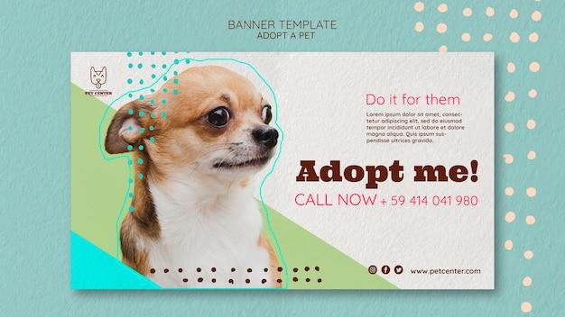 Modello con adozione di animali da compagnia per banner