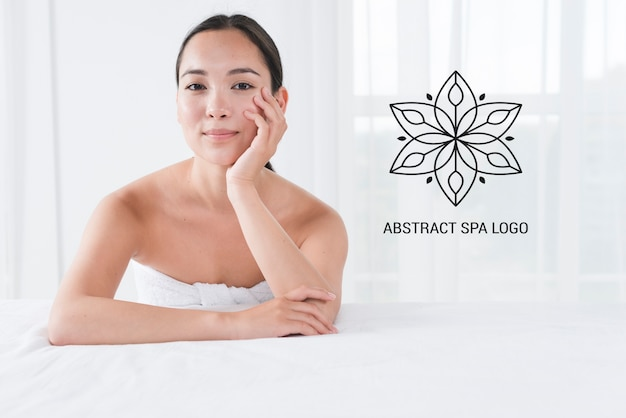 Template with woman posing at spa