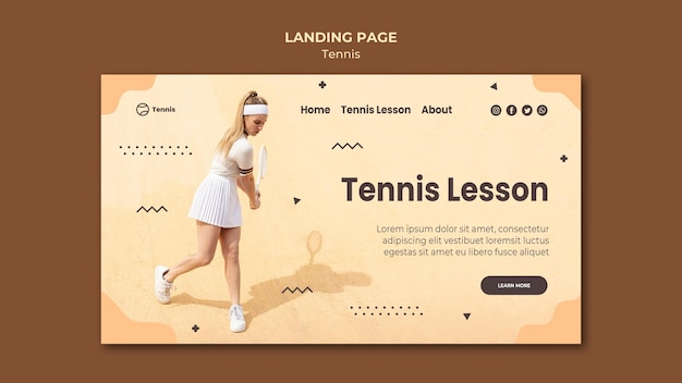 Tennis concept landing page style