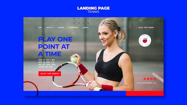 Tennis concept landing page template