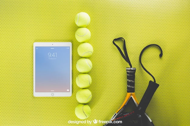 Tennis mockup with tablet