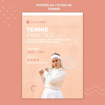 Tennis practice poster template design