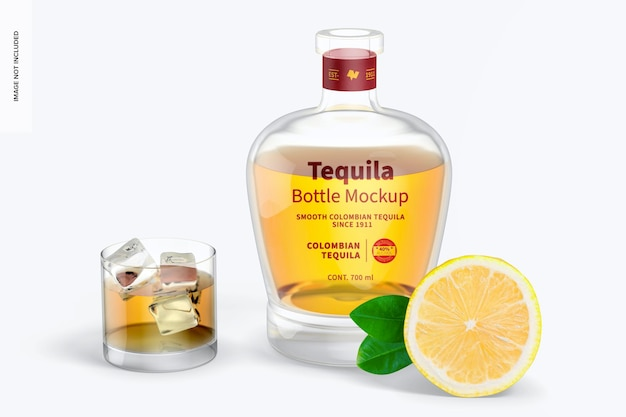 Бутылка текилы со стеклянным мокапом