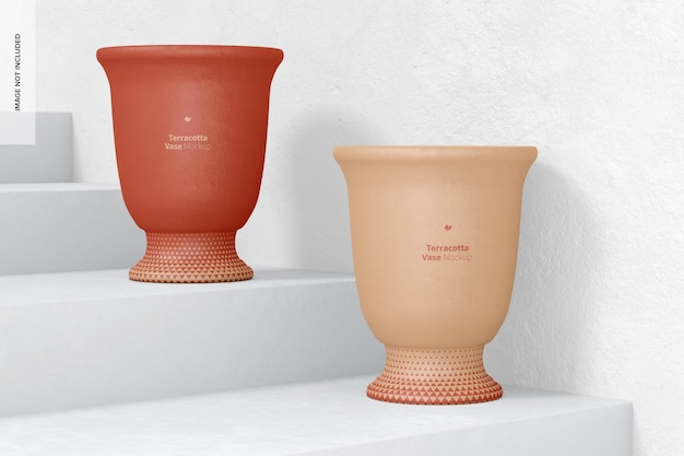 Mockup di vasi in terracotta, su e giù