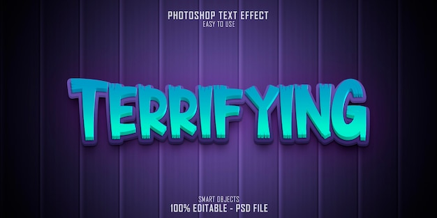 Terrifying 3d text style effect template