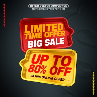 Text box with mega sale text with 80% discount