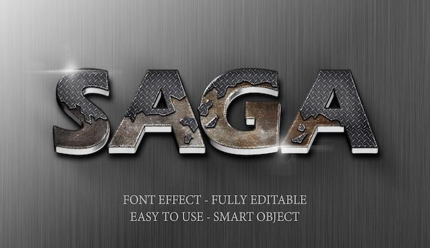 Text effect 3d iron steel crack