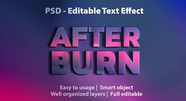Text effect after burn template