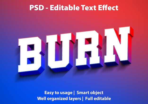 Text effect burn style template
