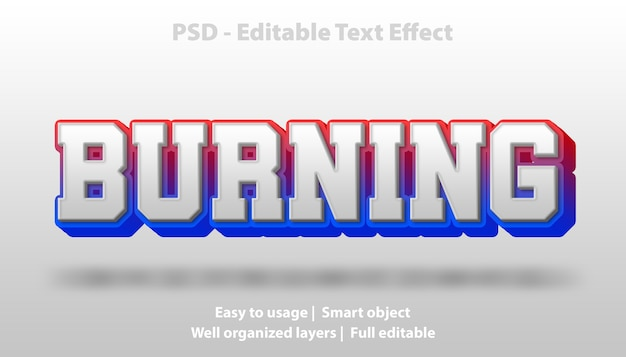 Text effect burning template
