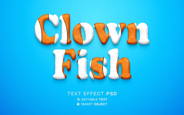 Disegno di pesce pagliaccio effetto testo