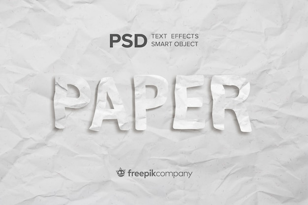 Text effect crumpled paper