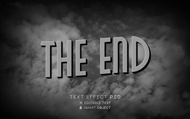 Effetto del testo alla fine del vecchio design del film