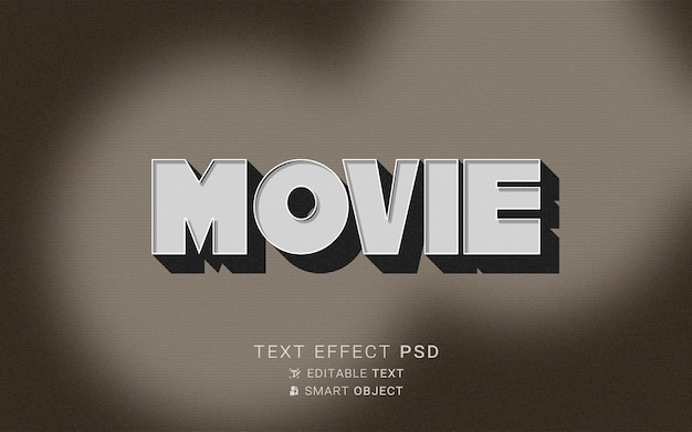 Text effect the end old movie design