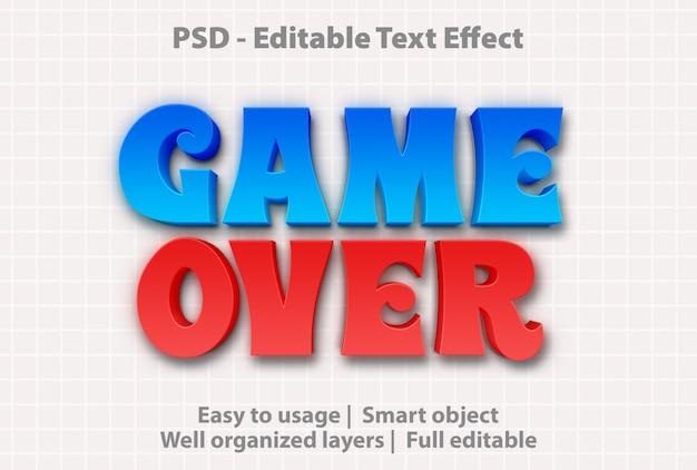 Текстовый эффект game over шаблон